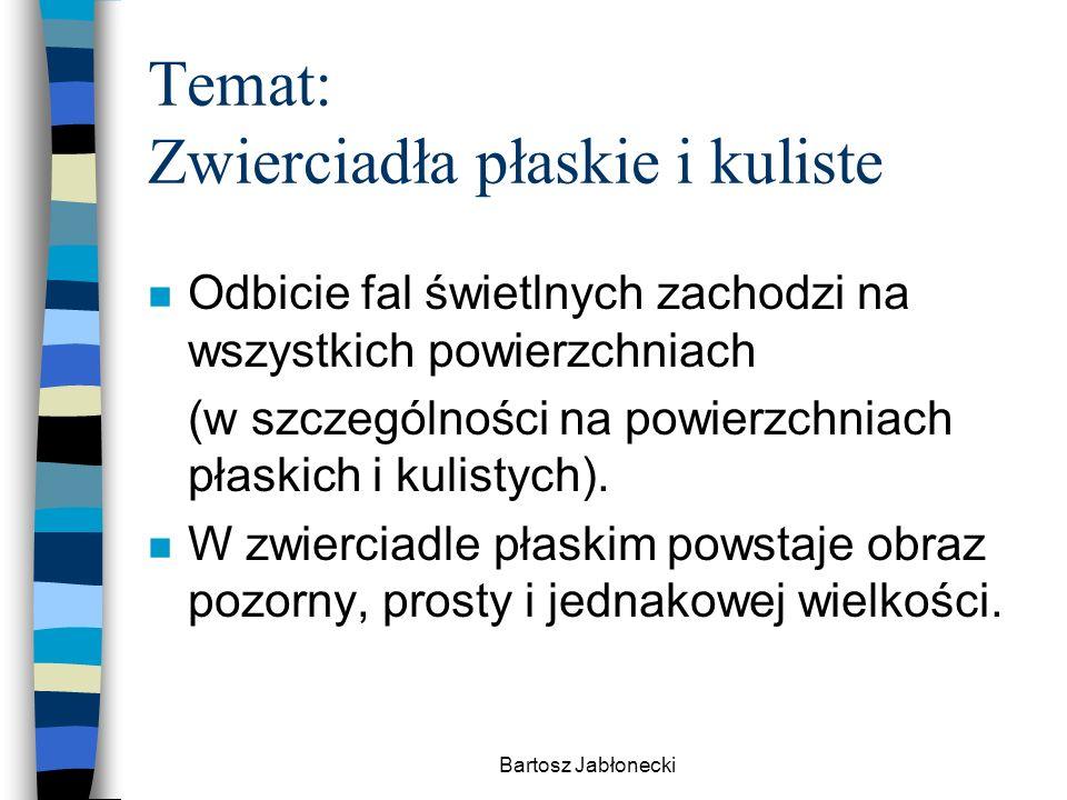 Bartosz Jabłonecki Temat: Zwierciadła płaskie i kuliste n Odbicie fal świetlnych zachodzi na wszystkich powierzchniach (w szczególności na powierzchni
