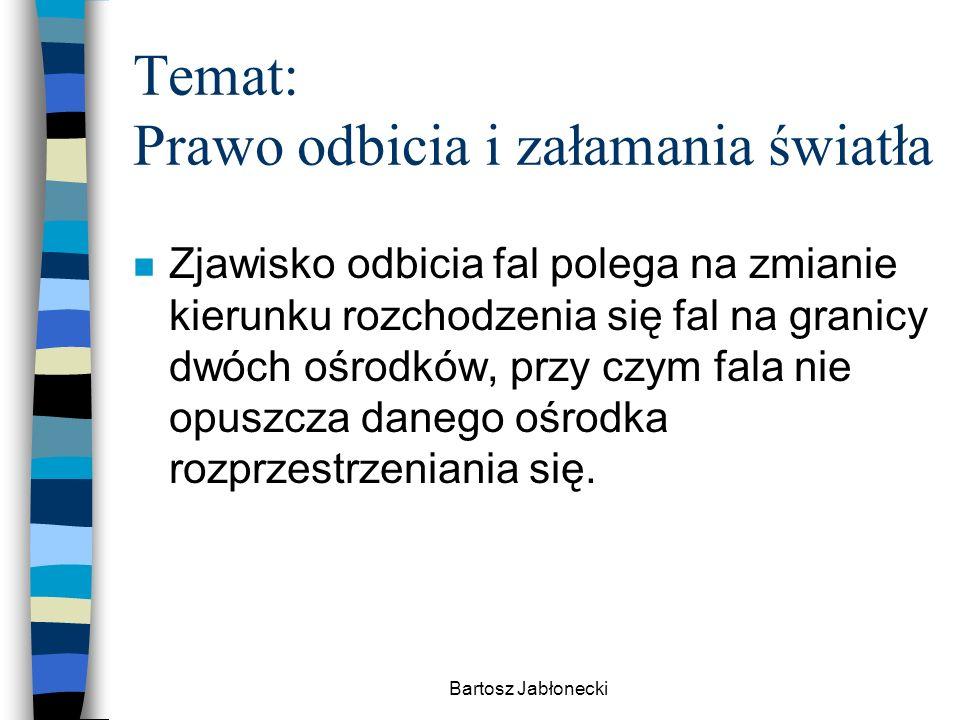 Bartosz Jabłonecki Temat: Prawo odbicia i załamania światła n Zjawisko odbicia fal polega na zmianie kierunku rozchodzenia się fal na granicy dwóch oś