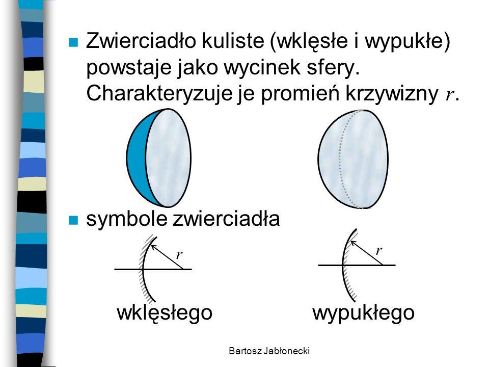 Bartosz Jabłonecki Zwierciadło kuliste (wklęsłe i wypukłe) powstaje jako wycinek sfery. Charakteryzuje je promień krzywizny r. n symbole zwierciadła w