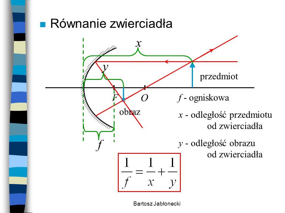 Bartosz Jabłonecki n Równanie zwierciadła F O przedmiot obraz x y f f - ogniskowa x - odległość przedmiotu od zwierciadła y - odległość obrazu od zwie