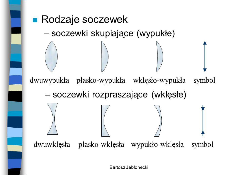 Bartosz Jabłonecki n Rodzaje soczewek –soczewki skupiające (wypukłe) –soczewki rozpraszające (wklęsłe) dwuwypukłapłasko-wypukławklęsło-wypukłasymbol d