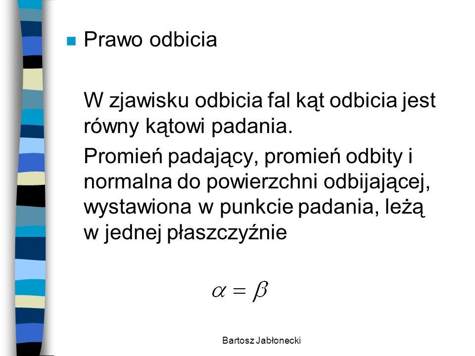 Bartosz Jabłonecki n Prawo odbicia W zjawisku odbicia fal kąt odbicia jest równy kątowi padania. Promień padający, promień odbity i normalna do powier