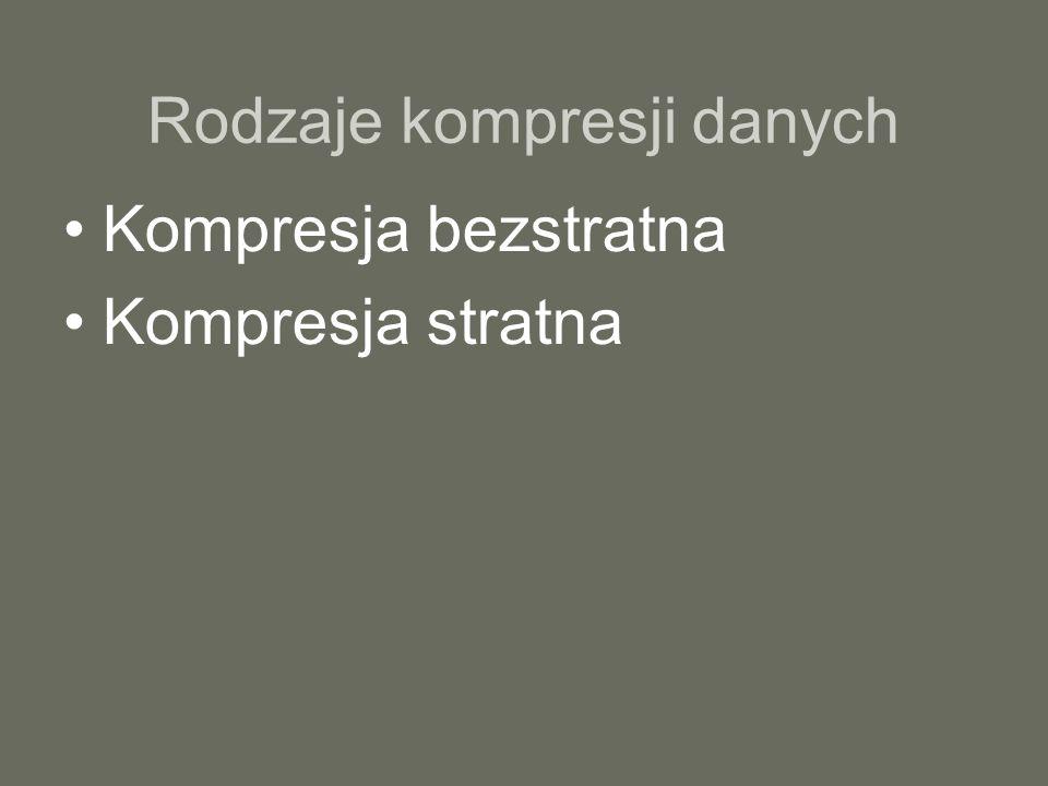 Rodzaje kompresji danych Kompresja bezstratna Kompresja stratna