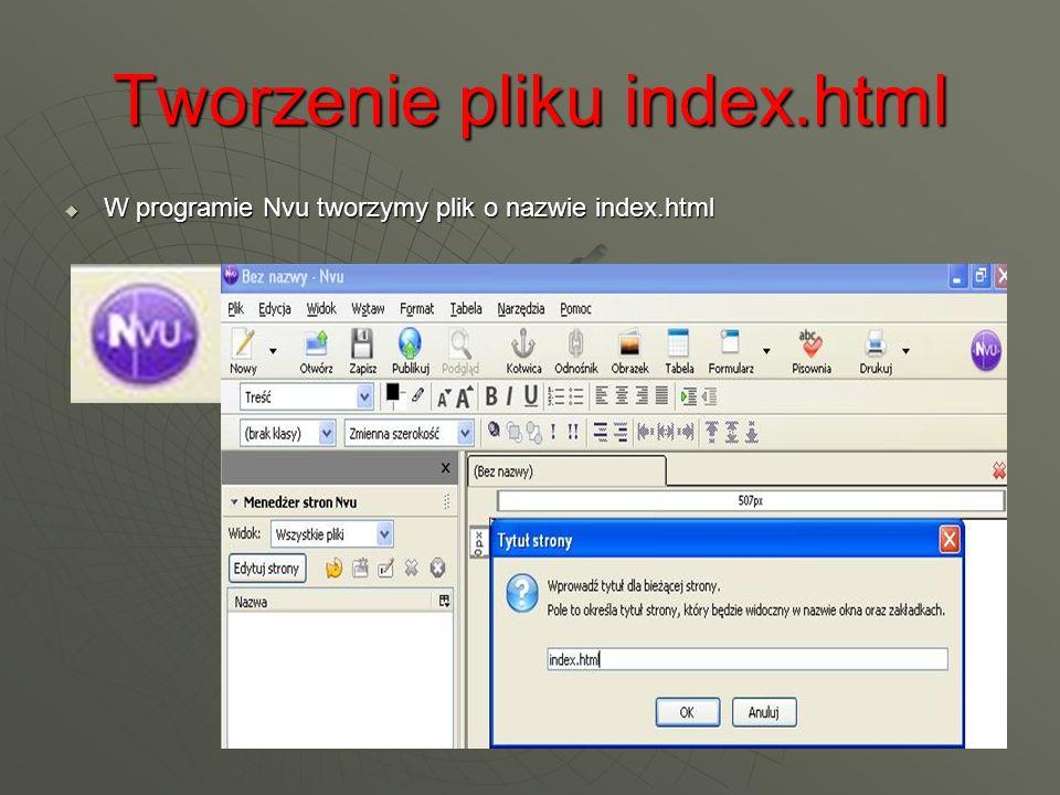 Tworzenie pliku index.html W programie Nvu tworzymy plik o nazwie index.html W programie Nvu tworzymy plik o nazwie index.html