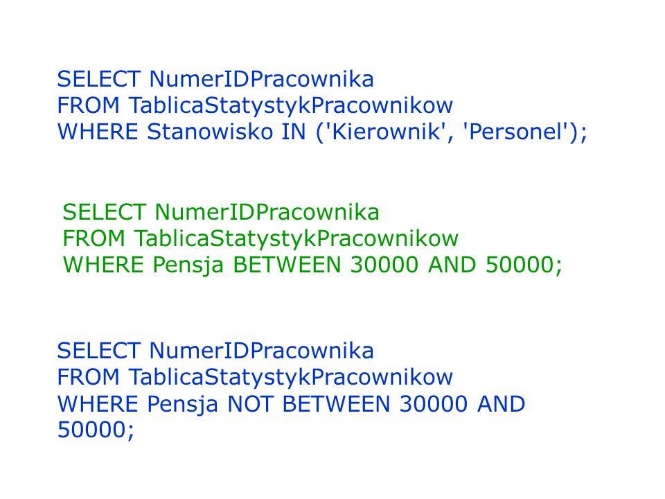 SELECT NumerIDPracownika FROM TablicaStatystykPracownikow WHERE Stanowisko IN ('Kierownik', 'Personel'); SELECT NumerIDPracownika FROM TablicaStatysty