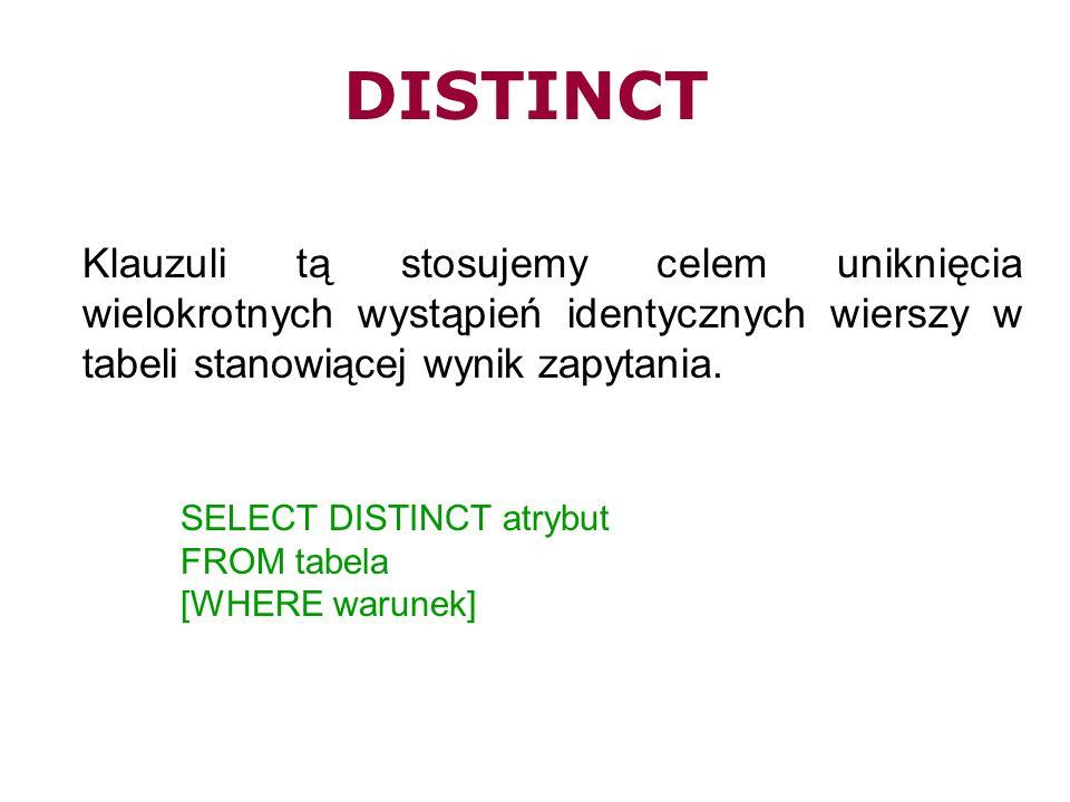 DISTINCT Klauzuli tą stosujemy celem uniknięcia wielokrotnych wystąpień identycznych wierszy w tabeli stanowiącej wynik zapytania. SELECT DISTINCT atr