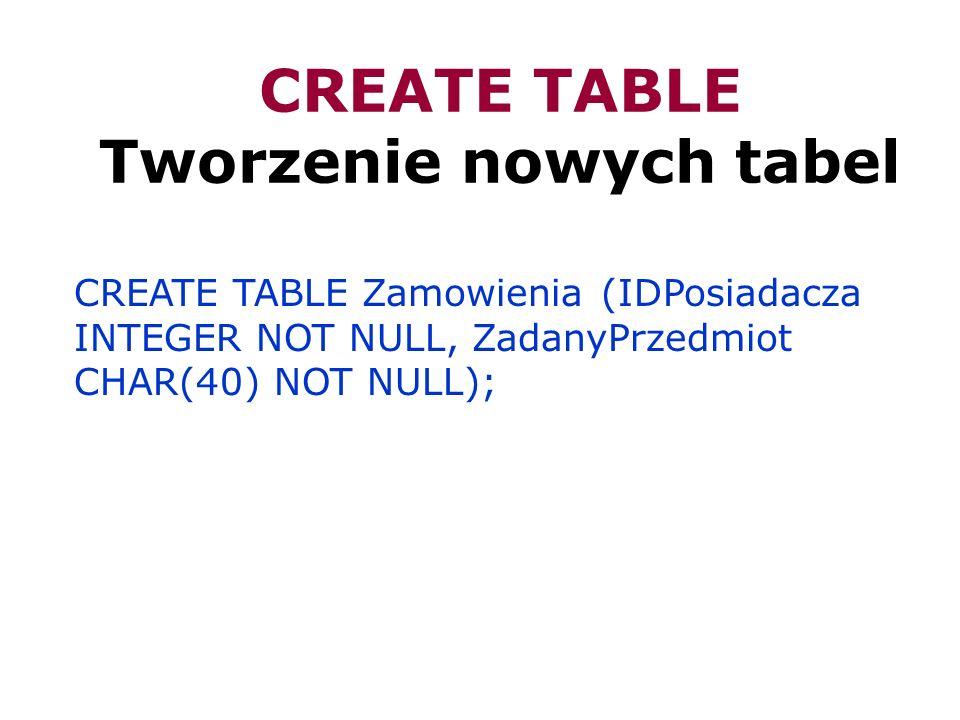 CREATE TABLE Tworzenie nowych tabel CREATE TABLE Zamowienia (IDPosiadacza INTEGER NOT NULL, ZadanyPrzedmiot CHAR(40) NOT NULL);