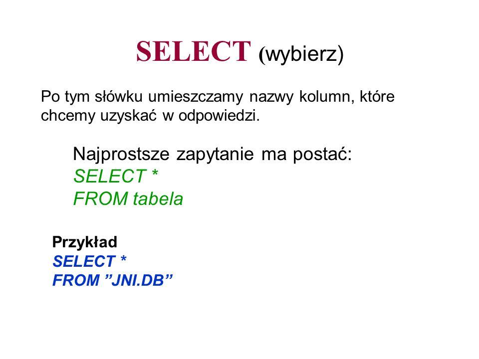 SELECT ( wybierz) Najprostsze zapytanie ma postać: SELECT * FROM tabela Po tym słówku umieszczamy nazwy kolumn, które chcemy uzyskać w odpowiedzi. Prz