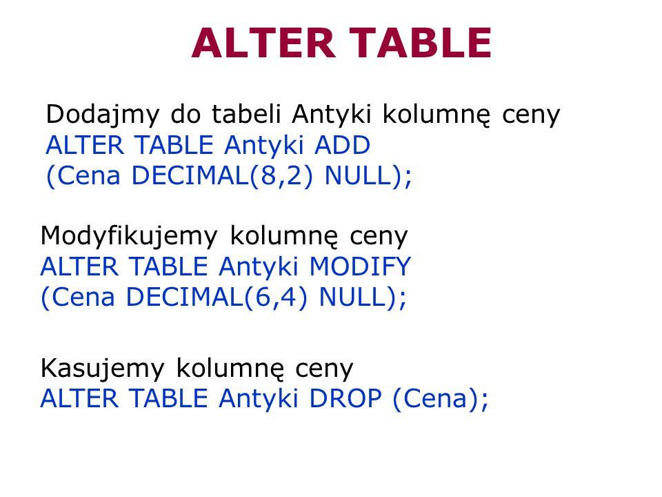 Dodajmy do tabeli Antyki kolumnę ceny ALTER TABLE Antyki ADD (Cena DECIMAL(8,2) NULL); ALTER TABLE Modyfikujemy kolumnę ceny ALTER TABLE Antyki MODIFY