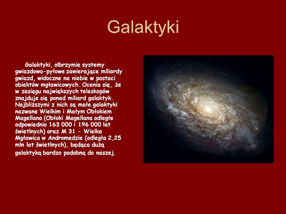 Galaktyki Galaktyki, olbrzymie systemy gwiazdowo-pyłowe zawierające miliardy gwiazd, widoczne na niebie w postaci obiektów mgławicowych. Ocenia się, ż