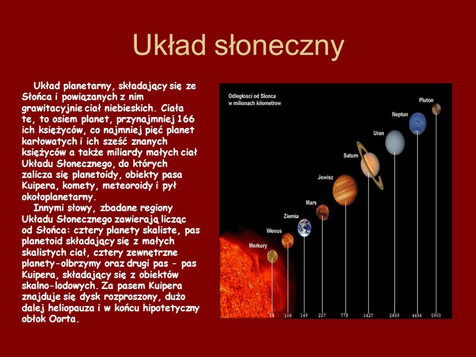 Układ słoneczny Układ planetarny, składający się ze Słońca i powiązanych z nim grawitacyjnie ciał niebieskich. Ciała te, to osiem planet, przynajmniej