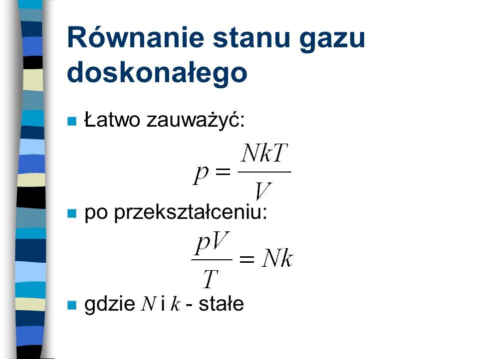 Równanie stanu gazu doskonałego n Łatwo zauważyć: n po przekształceniu: gdzie N i k - stałe