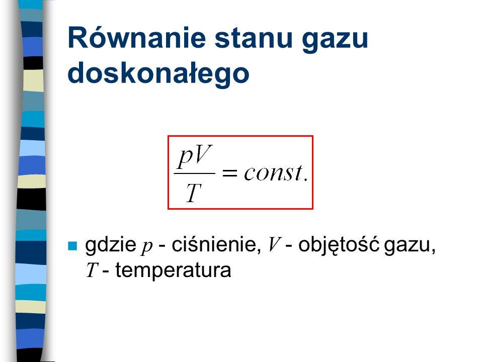 Równanie stanu gazu doskonałego gdzie p - ciśnienie, V - objętość gazu, T - temperatura