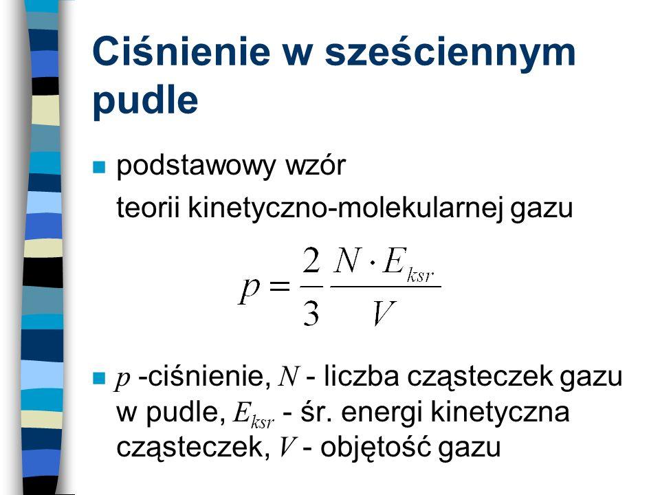Ciśnienie w sześciennym pudle n podstawowy wzór teorii kinetyczno-molekularnej gazu p -ciśnienie, N - liczba cząsteczek gazu w pudle, E ksr - śr. ener