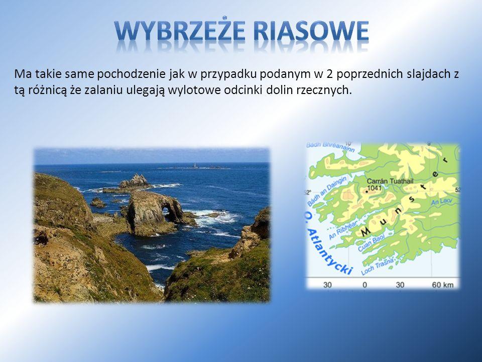 Ma takie same pochodzenie jak w przypadku podanym w 2 poprzednich slajdach z tą różnicą że zalaniu ulegają wylotowe odcinki dolin rzecznych.
