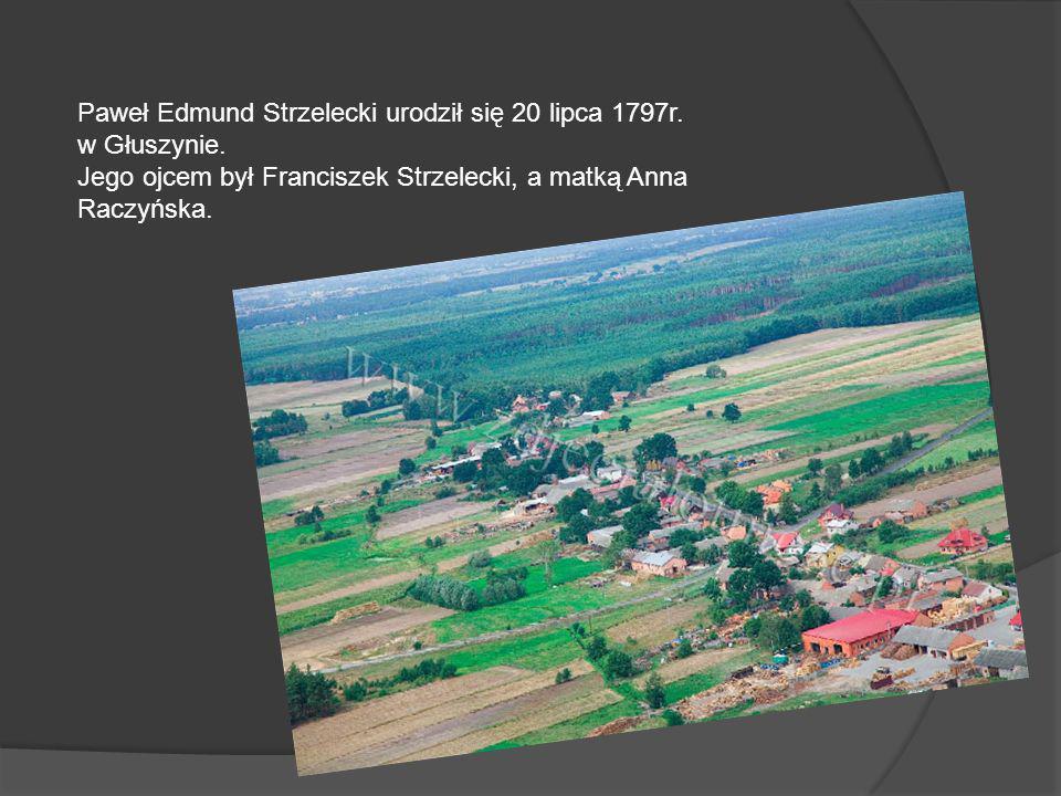 Paweł Edmund Strzelecki urodził się 20 lipca 1797r. w Głuszynie. Jego ojcem był Franciszek Strzelecki, a matką Anna Raczyńska.