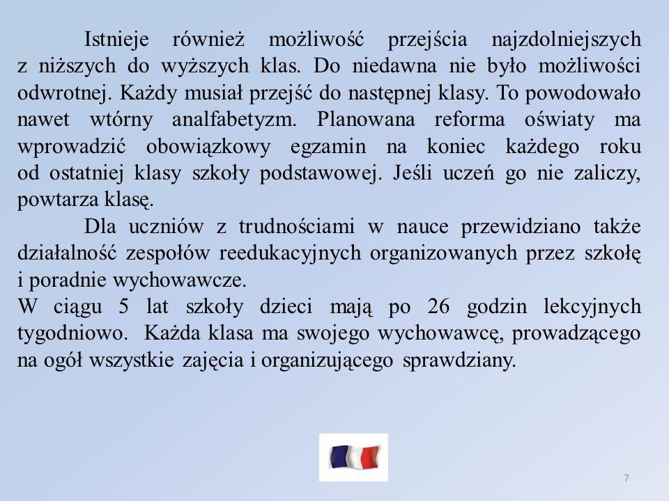 8 Program cyklu wstępnego: język francuski - 9 godzin (w tym możliwość 1 godz.