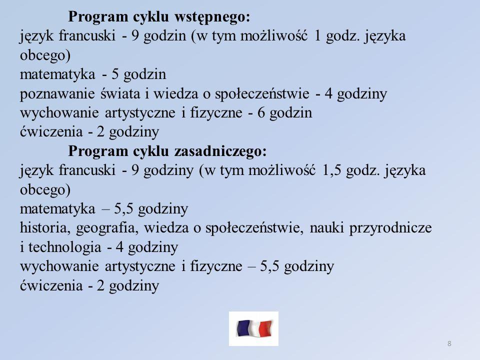 8 Program cyklu wstępnego: język francuski - 9 godzin (w tym możliwość 1 godz. języka obcego) matematyka - 5 godzin poznawanie świata i wiedza o społe