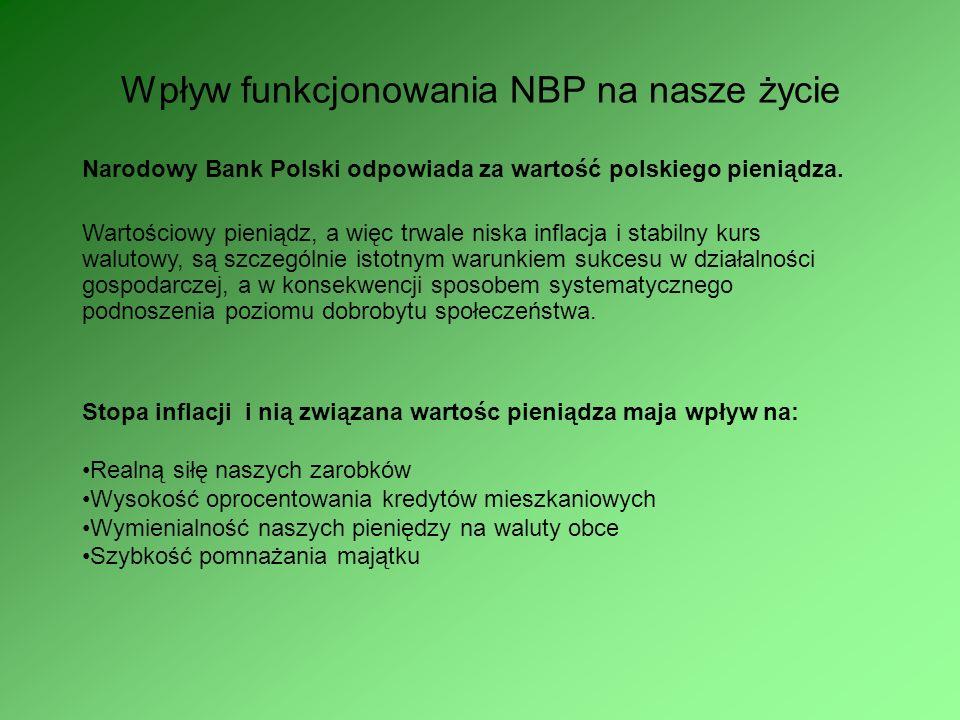 Funkcje Narodowego Banku Polskiego Funkcje centralnego banku państwa: formułuje i realizuje politykę pieniężną organizuje i czuwa nad sprawnym przebie
