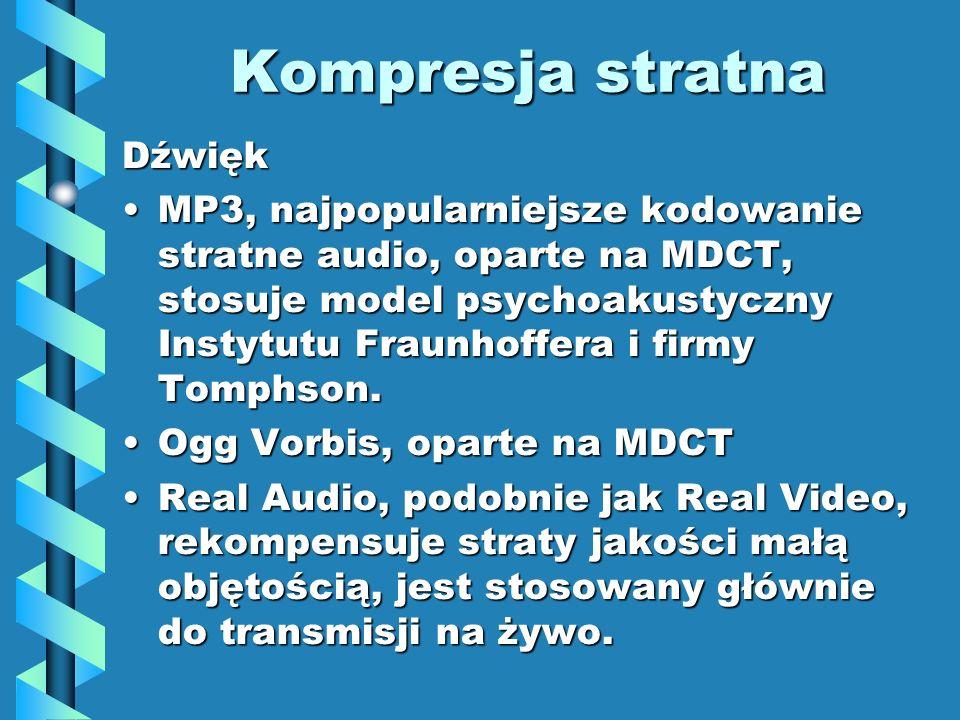 Kompresja stratna Dźwięk MP3, najpopularniejsze kodowanie stratne audio, oparte na MDCT, stosuje model psychoakustyczny Instytutu Fraunhoffera i firmy Tomphson.MP3, najpopularniejsze kodowanie stratne audio, oparte na MDCT, stosuje model psychoakustyczny Instytutu Fraunhoffera i firmy Tomphson.