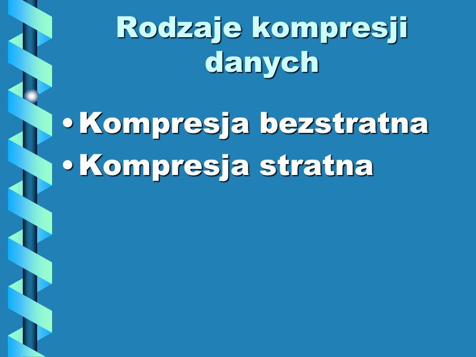 Rodzaje kompresji danych Kompresja bezstratnaKompresja bezstratna Kompresja stratnaKompresja stratna