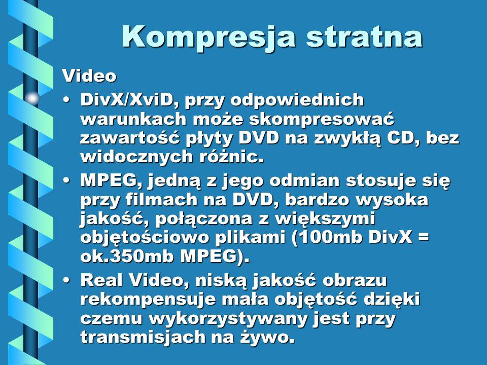 Kompresja stratna Video DivX/XviD, przy odpowiednich warunkach może skompresować zawartość płyty DVD na zwykłą CD, bez widocznych różnic.DivX/XviD, przy odpowiednich warunkach może skompresować zawartość płyty DVD na zwykłą CD, bez widocznych różnic.