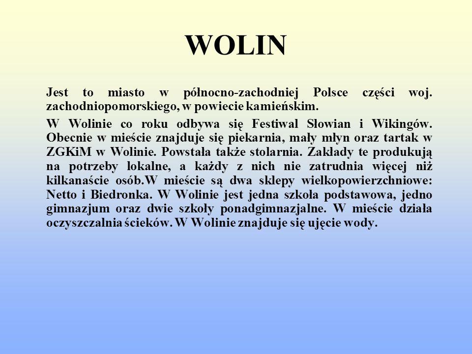 WOLIN Jest to miasto w północno-zachodniej Polsce części woj. zachodniopomorskiego, w powiecie kamieńskim. W Wolinie co roku odbywa się Festiwal Słowi