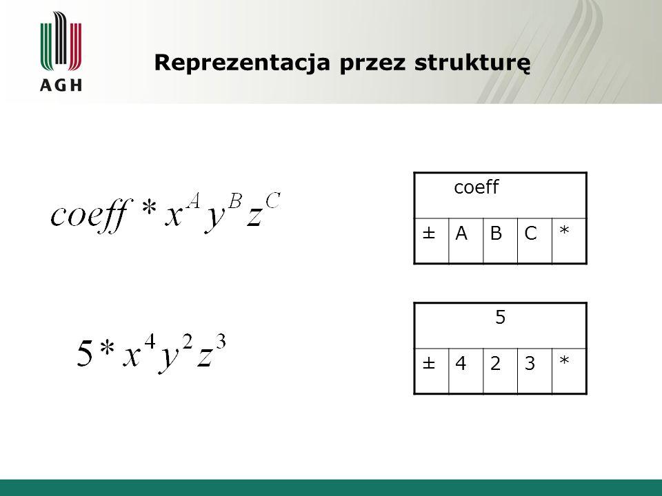 Reprezentacja przez strukturę coeff ±ABC* 5 ±423*