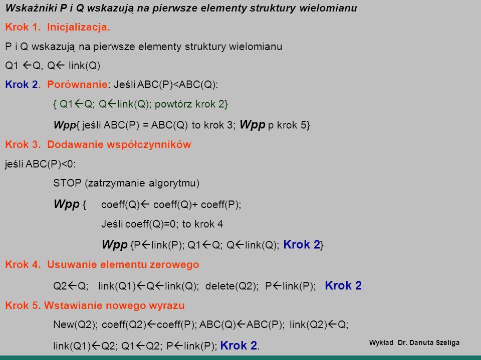 Wskaźniki P i Q wskazują na pierwsze elementy struktury wielomianu Krok 1. Inicjalizacja. P i Q wskazują na pierwsze elementy struktury wielomianu Q1