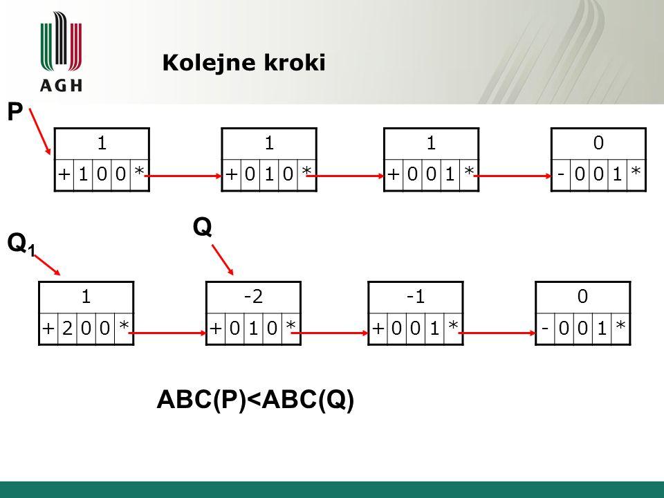 Kolejne kroki 1 +100* 1 +010* 1 +001* 0 -001* 1 +200* -2 +010* +001* 0 -001* P Q1Q1 Q ABC(P)<ABC(Q)