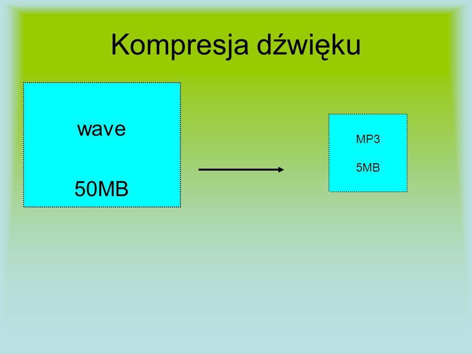 Kompresja dźwięku wave 50MB MP3 5MB