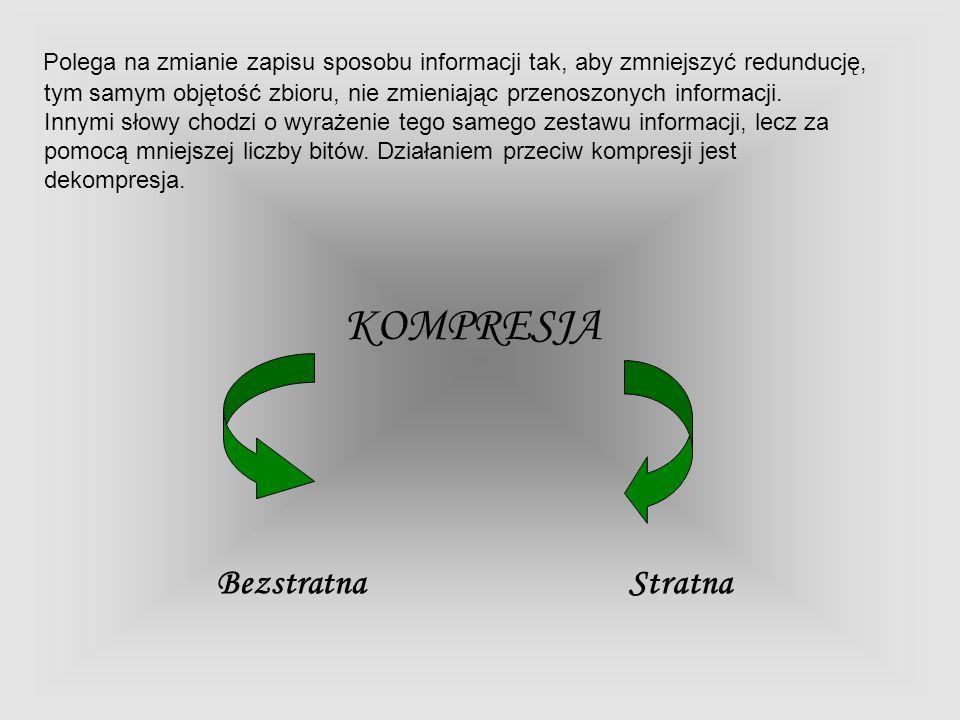 Polega na zmianie zapisu sposobu informacji tak, aby zmniejszyć redunducję, tym samym objętość zbioru, nie zmieniając przenoszonych informacji. Innymi
