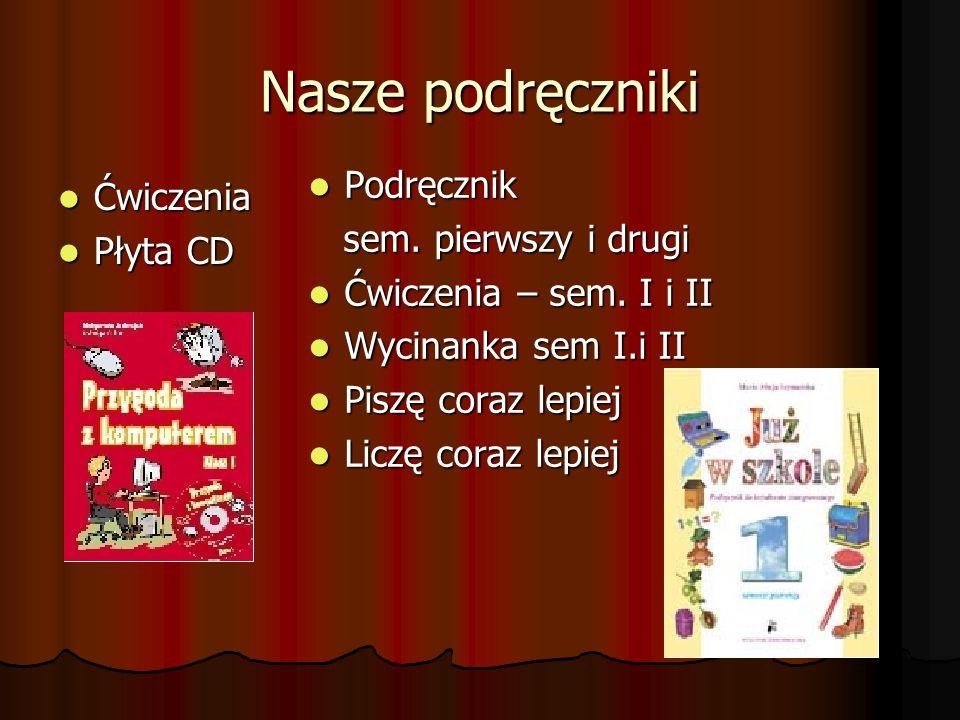 Nasze podręczniki Ćwiczenia Ćwiczenia Płyta CD Płyta CD Podręcznik Podręcznik sem. pierwszy i drugi sem. pierwszy i drugi Ćwiczenia – sem. I i II Ćwic