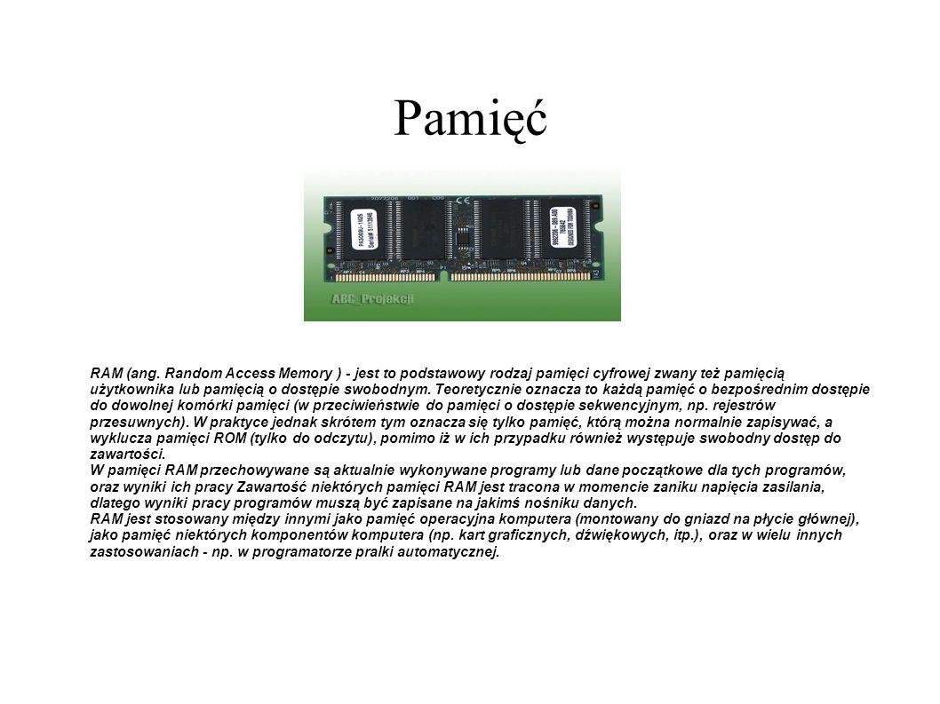 Pamięć RAM (ang. Random Access Memory ) - jest to podstawowy rodzaj pamięci cyfrowej zwany też pamięcią użytkownika lub pamięcią o dostępie swobodnym.