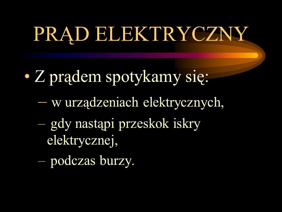 PRĄD ELEKTRYCZNY Z prądem spotykamy się: – w urządzeniach elektrycznych, – gdy nastąpi przeskok iskry elektrycznej, – podczas burzy.