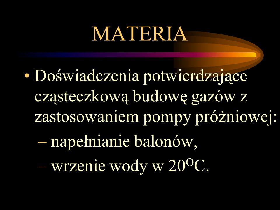 MATERIA Doświadczenia potwierdzające cząsteczkową budowę gazów z zastosowaniem pompy próżniowej: – napełnianie balonów, – wrzenie wody w 20 O C.