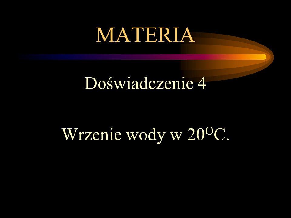 MATERIA Doświadczenie 4 Wrzenie wody w 20 O C.