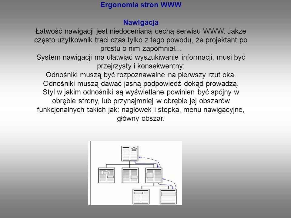Ergonomia stron WWW Nawigacja Łatwość nawigacji jest niedocenianą cechą serwisu WWW.