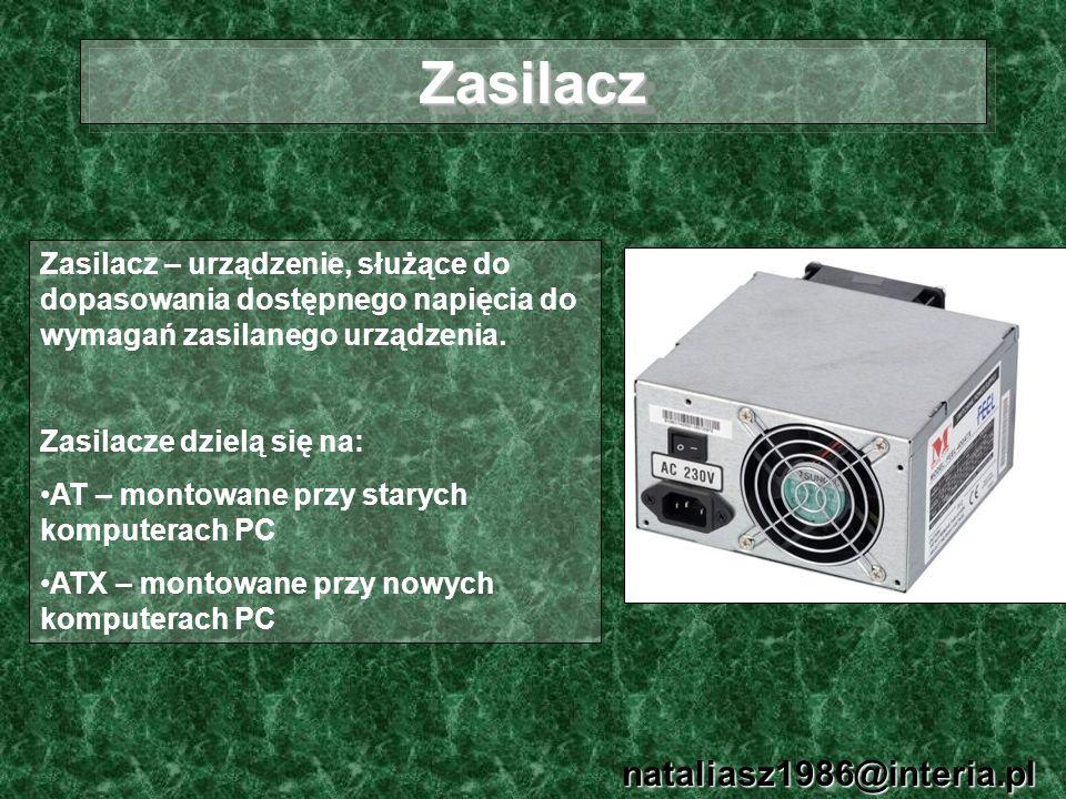 ZasilaczZasilacz nataliasz1986@interia.pl Zasilacz – urządzenie, służące do dopasowania dostępnego napięcia do wymagań zasilanego urządzenia. Zasilacz