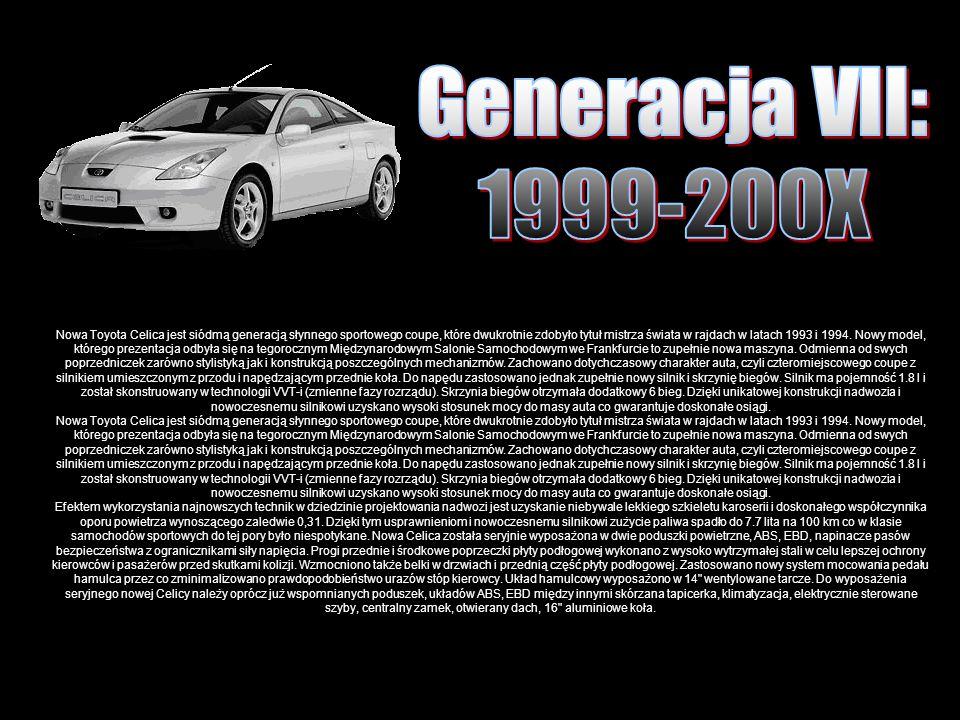 Nowa Toyota Celica jest siódmą generacją słynnego sportowego coupe, które dwukrotnie zdobyło tytuł mistrza świata w rajdach w latach 1993 i 1994.