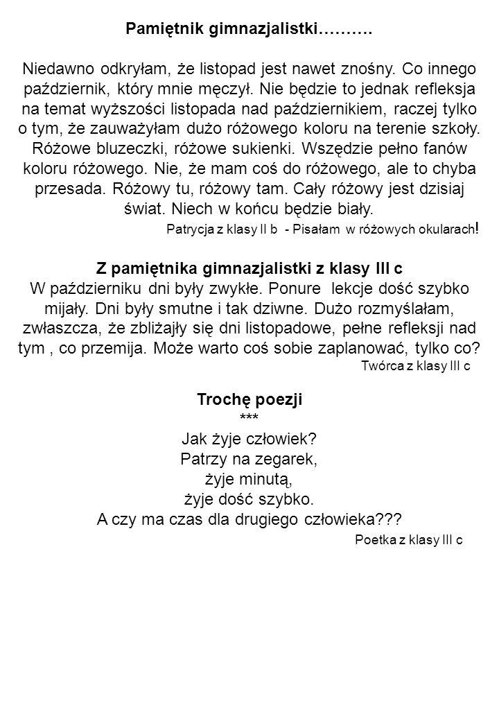 Pamiętnik gimnazjalistki……….Niedawno odkryłam, że listopad jest nawet znośny.