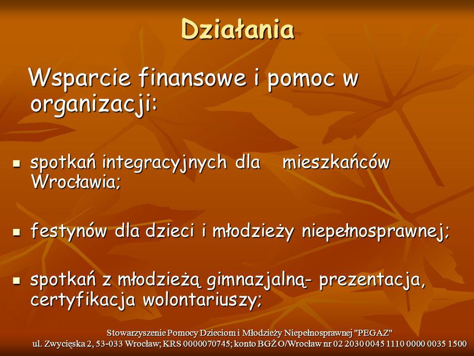 Działania Wsparcie finansowe i pomoc w organizacji: Wsparcie finansowe i pomoc w organizacji: spotkań integracyjnych dla mieszkańców Wrocławia; spotka