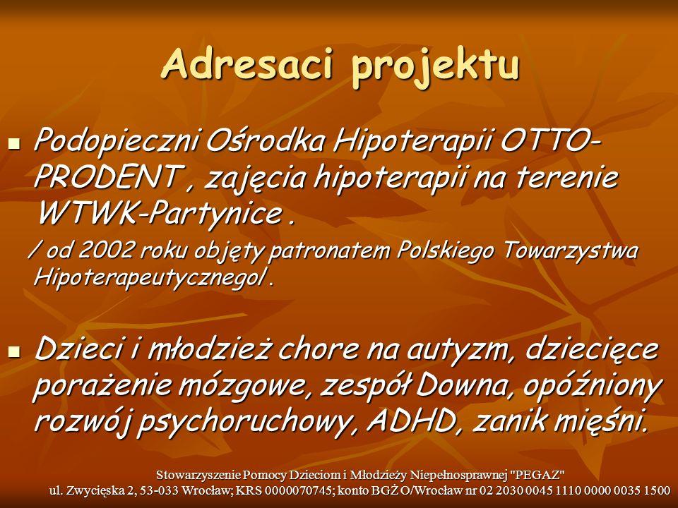 Adresaci projektu Podopieczni Ośrodka Hipoterapii OTTO- PRODENT, zajęcia hipoterapii na terenie WTWK-Partynice. Podopieczni Ośrodka Hipoterapii OTTO-