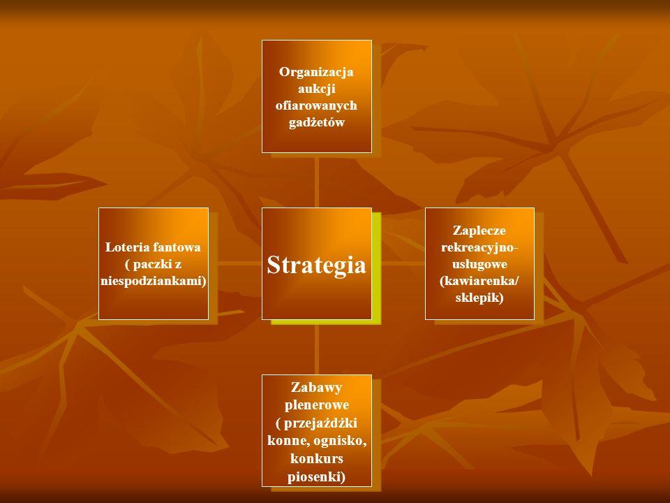 Strategia Organizacja aukcji ofiarowanych gadżetów Zaplecze rekreacyjno- usługowe (kawiarenka/ sklepik) Zabawy plenerowe ( przejażdżki konne, ognisko,