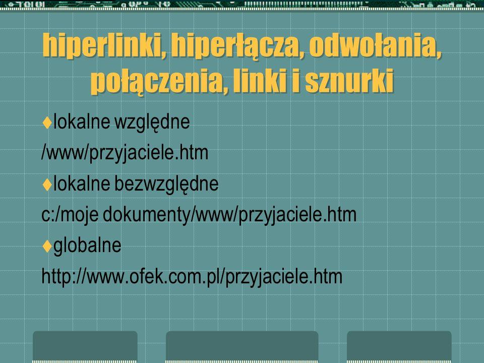 hiperlinki, hiperłącza, odwołania, połączenia, linki i sznurki lokalne względne /www/przyjaciele.htm lokalne bezwzględne c:/moje dokumenty/www/przyjac