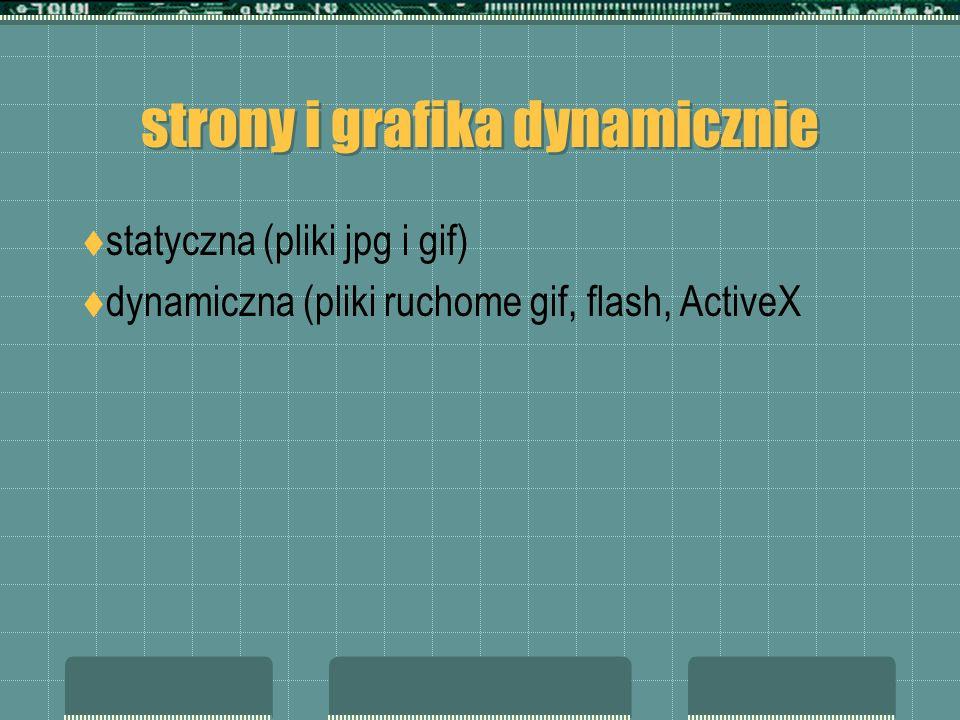 strony i grafika dynamicznie statyczna (pliki jpg i gif) dynamiczna (pliki ruchome gif, flash, ActiveX