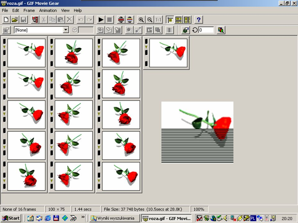zasady obrazkowe Należy uzyskać największą jakość obrazka przy najmniejszym jego rozmiarze (w baj-tach lub kilobajtach); Obrazki z przeźroczystym tłem musimy zapisać w formacie gif, gdyż tylko ten format na to pozwala; Obrazki o małej liczbie kolorów, np.