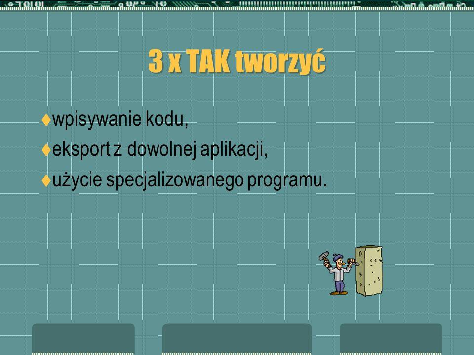 3 x TAK tworzyć wpisywanie kodu, eksport z dowolnej aplikacji, użycie specjalizowanego programu.