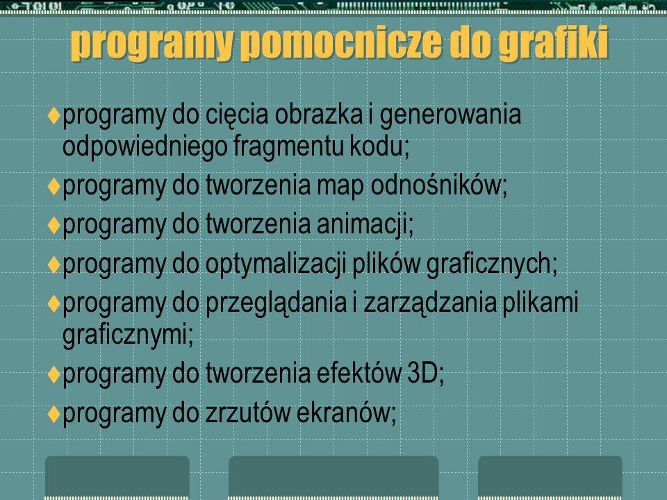 programy pomocnicze do grafiki programy do cięcia obrazka i generowania odpowiedniego fragmentu kodu; programy do tworzenia map odnośników; programy do tworzenia animacji; programy do optymalizacji plików graficznych; programy do przeglądania i zarządzania plikami graficznymi; programy do tworzenia efektów 3D; programy do zrzutów ekranów;