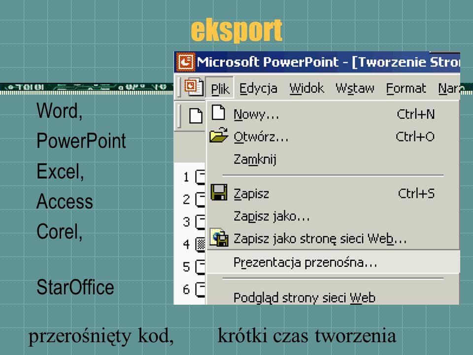 eksport Word, PowerPoint Excel, Access Corel, aplikacje StarOffice przerośnięty kod,krótki czas tworzenia